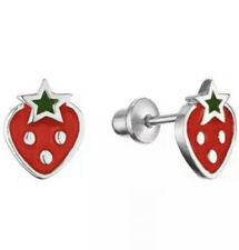 925 Sterling Silver Strawberry Enamel Screw Back Earring For Baby Toddler Kids