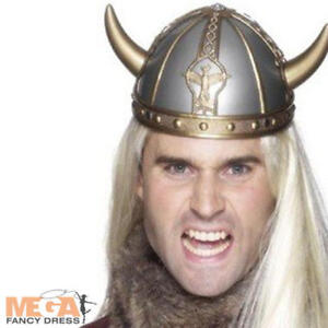 Viking Helmet with Horns Adults Fancy Dress Saxon Warrior Historical Costume Hat