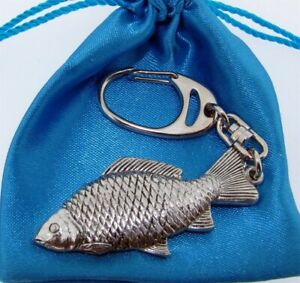 Carp Silver Pewter Chunky Keyring In A Satin Gift Bag