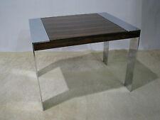 Vintage 1970s Milo Baughman Chrome & Rosewood Veneer End Table
