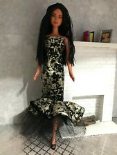 Homemade barbie clothes - black foil stunning fashion gown