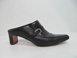 Brighton Tiana Mules Black Leather Croc Embossed Size Women's 8.5 M