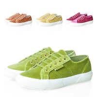 Superga Damen Samt Low-Top Sneaker Schnürschuhe Damenschuhe Schuhe Schnürer