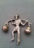 1940'S VINTAGE MEXICO SILVER MOVABLE DANGLE BUCKETS PEASANT MAN PIN BROOCH