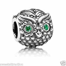 New Authentic Pandora Charm Sterling Silver Wise Owl 791211CZN W Tag & Suede Pou