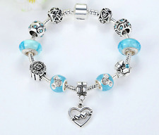 Girl Women Silver plated Love Hearts pdora Crystal glass Charms Bead Bracelet