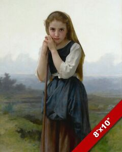 YOUNG WOMAN SHEPHERD SHEPARD GIRL OIL PAINTING ART REAL CANVAS GICLEE PRINT