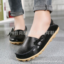 New Women Genuine Leather Comfy Casual Bowed Flat Shoes Moccasin Soft Loafers GW