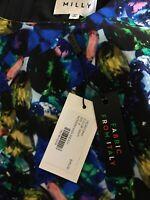 NWT$395 MILLY Jewel Print Italian Cady Modern Sheath Dress Blue Diamond Print 4