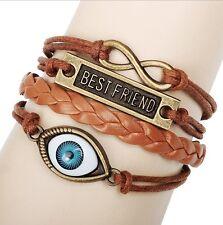 NEW Infinity Best Friend Evil Eye Leather Cute Charm Bracelet Braided Bronze C