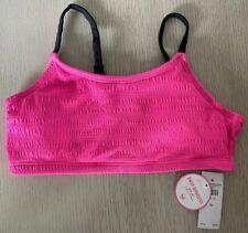 NWT Justice Girls Pink Black Ruched Bikini Top Bathing Swim Suit - Size 12