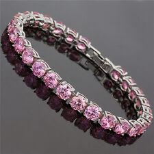 Fashion Fashion Jewelry Round Cut Pink Sapphire Dainty Tennis Bracelet