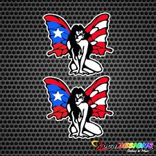 2x BUTTERFLY FAIRY PUERTO RICO RICAN FLAG VINYL CAR STICKERS DECALS