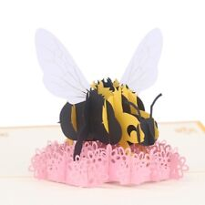 Handmade 3D Pop Up Card Bee Flower Greeting Cards Birthday Wedding Invitation