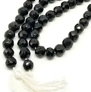 6mm Vintage Black Jet Faceted Round Beads - 1 15inch Strand