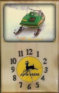 John Deere 1979 Spitfire snowmobile wood clock