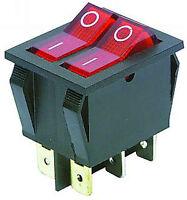 Wippenschalter Schalter 2fach beleuchtet EIN AUS 2polig 230V 15A Doppelschalter