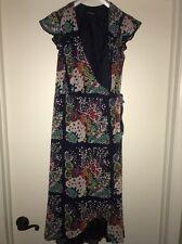Nanette Lepore Designer Chiffon Ruffle Side Tie Wrap Dress Blue Floral Print 2