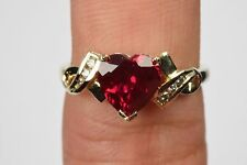 Women's Epic 2.09 ct Heart Ruby & Diamond Love Ring 10k Solid Yellow Gold Size 8