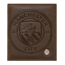 Manchester City FC Official Football Gift Luxury Brown Faux Leather Wallet Crest