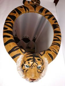 Blue Eyed BENGAL TIGER Framed Designer Resin Novelty Oval WALL MIRROR 🐯