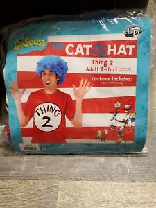Dr Suess Thing 1 Size L XL Adult Costume Shirt, Blue Wig, Cat In The Hat