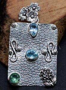 """925 Sterling Silver Swiss Blue Topaz & Amethyst Gemstone Jewelry Pendant Size-2"""""""