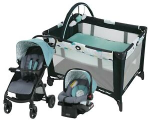 Baby Stroller Travel System Combo with Car Seat Infant Playard Nursery Blue