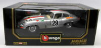 Burago 1/18 Scale Diecast - 3038 Jaguar E-Type Coupe Racing #29 Silver Model car