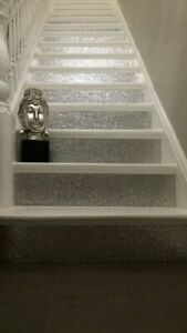 """-15cm (6"""") Wall Paper Silver Glitter Stairs Risers Fabric Wallpaper Border"""