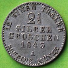 ALLEMAGNE PREUSSEN 2 1/2 SILBER GROSCHEN 1843 A