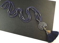 Tree of Life Navy Blue Tassel Long Dangle Pendant with Blue & Gold Beads # B20