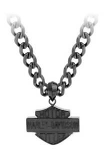 Harley-Davidson Men's Black Steel Bar & Shield Chain Necklace, Black HSN0046-22
