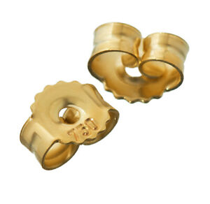 1 pair of  18K 750 Yellow gold mating ear studs ear stopper hole 0.9mm ear nut