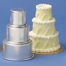 "Parrish Magic Line Miniature 3 Tier Cake Pan Set, 2"", 3"",4"" pans all 2"" deep NEW"