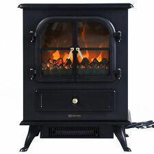 Free Standing Electric 1500W Fireplace Heater Fire Flame Stove Wood Adjustable