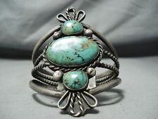 Towering Tripe Stone Vintage Navajo Royston Turquoise Sterling Silver Bracelet