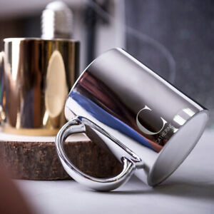 PERSONALISED Ceramic Mugs Large 350ml Coffee Tea Cup Metallic - Name & Initial