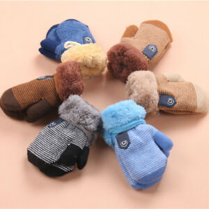 Girls and Boys DFVVR Toddler Winter Fluffy Knitted Gloves Thickened Thermal Knitted Mittens with Anti-Lost String for Kids