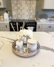 Ornate Rose Copper Coloured Mirror Candle Tea Light Plate Tray 28cm Home Decor