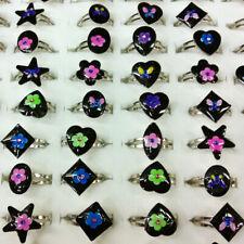 10/20/30pcs Wholesale Lots Change Color Emotional Mood Rings Flower Fingers Ring
