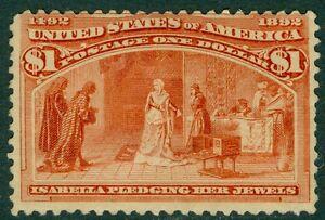 USA : 1893. Scott #241 Mint OG H. Fresh stamp with PSAG Cert. Catalog $1,100.00.