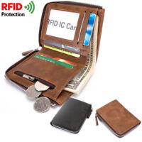 FQB08 Uomo Cuoio PU RFID  Portafoglio Porta Carte di Credito Taschino Zip Monete