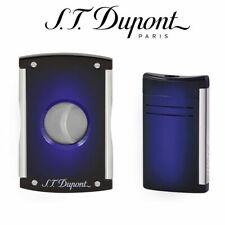 More details for new st dupont gift set maxijet cutter & lighter - sunburst blue - matching set