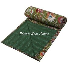 Indian Bed Cover Queen Cotton Printed Quilt Blanket Mukut Kantha Quilts