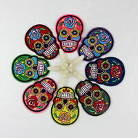 2pcs Flower Skull Pattern DIY Embroidered Cloth Iron On Patch Sew Motif Applique