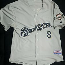 Majestic Ryan Braun Milwaukee Brewers Authentic Road Embroidered Jersey Size 52
