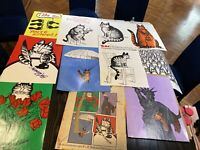 B Kliban 10 Cat Posters 18x24 Set Lot W Envelope Vintage 1970s Art Print1979