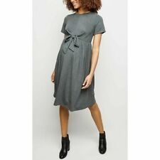 NEW LOOK Maternity Jersey Tie Front Short Sleeve Smock Dress in Grey (th10)