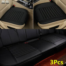 3x Black Universal Breathable Bamboo Charcoal PU Leather Car Seat Cover Cushion